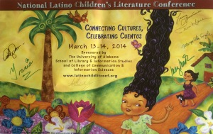 My signed conference poster! The gorgeous artwork comes from Laura Lacamara's new book, Dalia's Wondrous Hair.