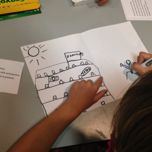 Kids respond to Matt's art with baseball illustrations of their own, Photo credit: Sujei Lugo