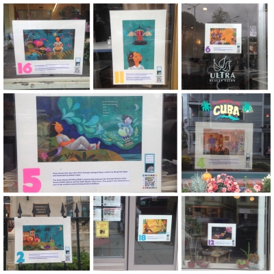 From beauty salons to Cuban restaurants and health centers, the Drum Dream Girl Story Walk boards