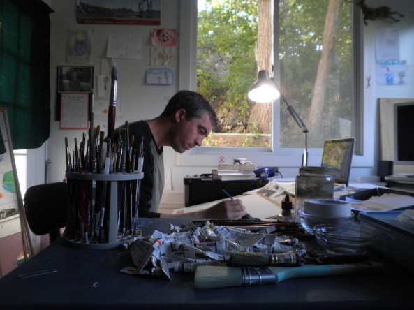 Matt hard at work in his studio