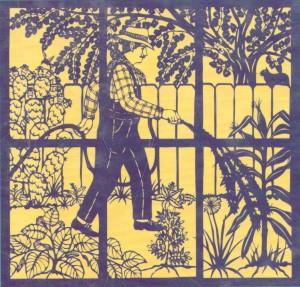 Detail from Offering for Antonio Lomas / Ofrenda para Antonio Lomas on the back cover of Magic Windows / Ventanas mágicas.