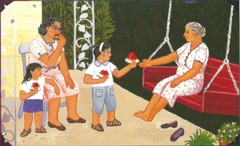 Detail from Watermelon / Sandía on the back cover of Family Pictures / Cuadros de familia.