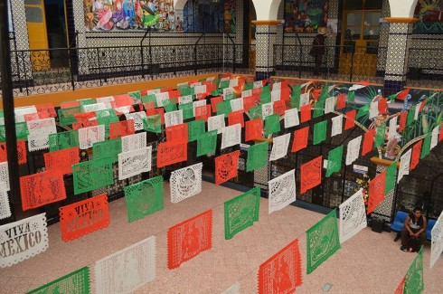 Papel picado decorations for Mexican Independence Day celebrations, Atlixco, Puebla, Mexico. Photo by Alejandro Linares Garcia.